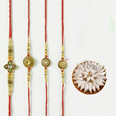 Set of 4 Mauli Rakhi with Burfi
