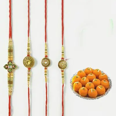 Set of 4 Mauli Rakhi with Laddu