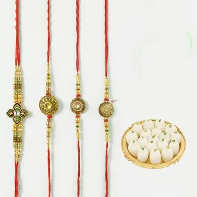 Set of 4 Mauli Rakhi with Rasgulla