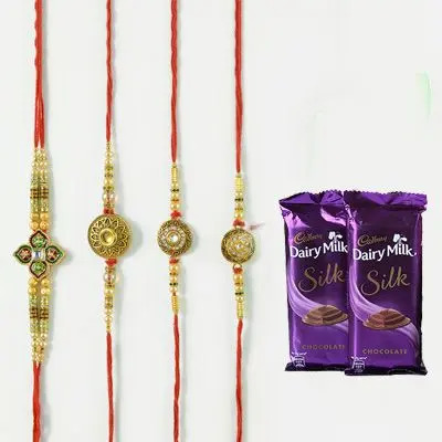 Set of 4 Mauli Rakhi with Silk