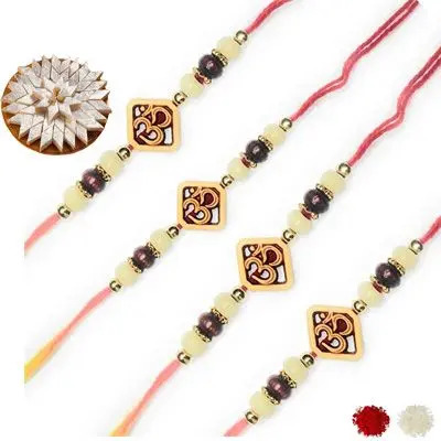 Set of 4 Om Rakhi with Burfi