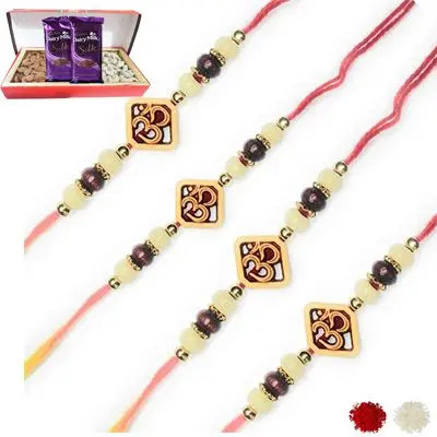 Set of 4 Om Rakhi with Dry Fruits & Silk