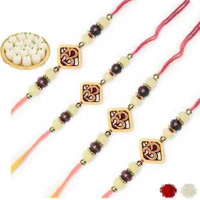 Set of 4 Om Rakhi with Rasgulla