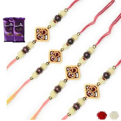 Set of 4 Om Rakhi with Silk