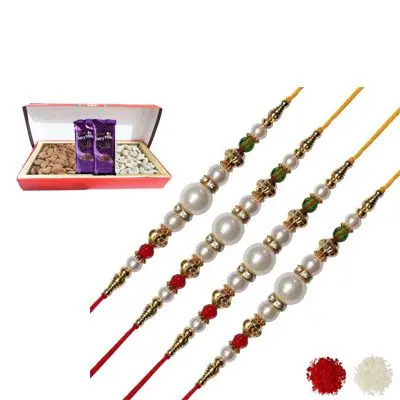 Set of 4 Pearl Rakhi with Dry Fruits & Silk