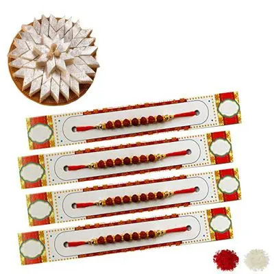 Set of 4 Rudraksha Rakhi with Burfi