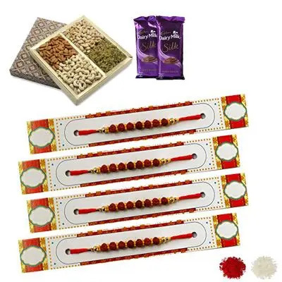 Set of 4 Rudraksha Rakhi with Dry Fruits & Silk