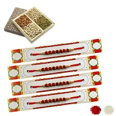 Set of 4 Rudraksha Rakhi with Dry Fruits