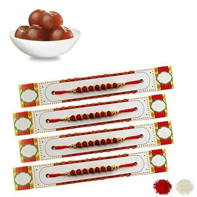 Set of 4 Rudraksha Rakhi with Gulab Jamun