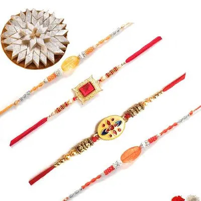 Set of 4 Stone Rakhi with Burfi