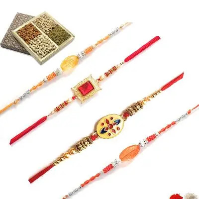 Set of 4 Stone Rakhi with Dry Fruits