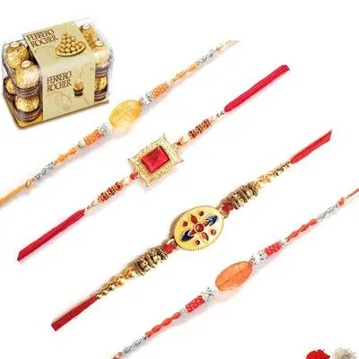 Set of 4 Stone Rakhi with Ferrero Rocher