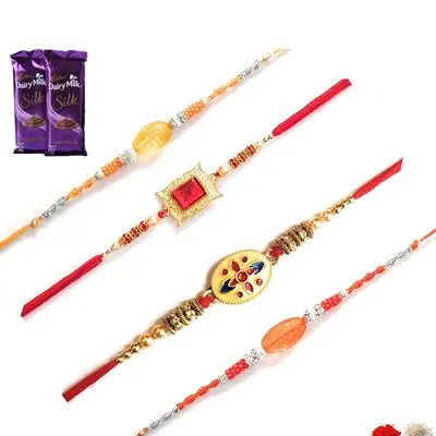 Set of 4 Stone Rakhi with Silk