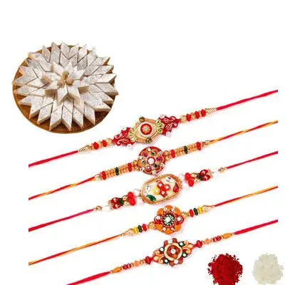 Set of 5 Mauli Rakhi with Burfi
