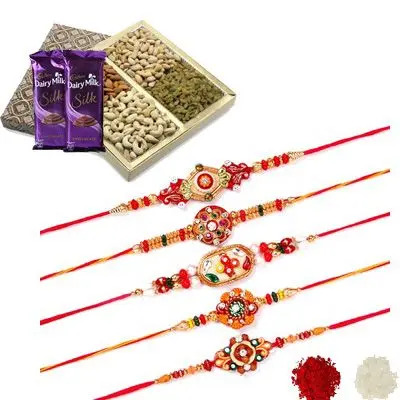 Set of 5 Mauli Rakhi with Dry Fruits & Silk