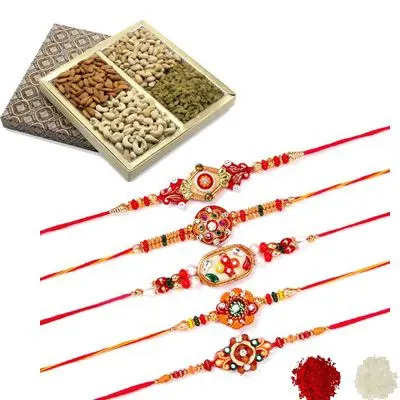 Set of 5 Mauli Rakhi with Dry Fruits