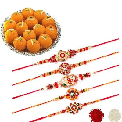 Set of 5 Mauli Rakhi with Laddu