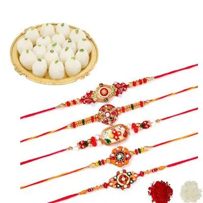 Set of 5 Mauli Rakhi with Rasgulla