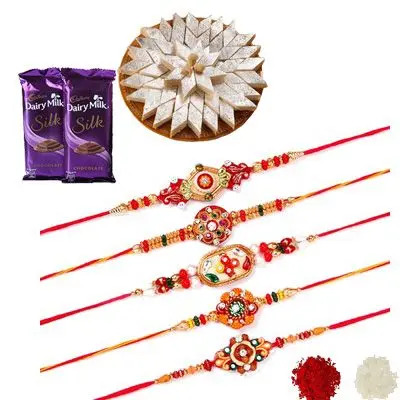 Set of 5 Mauli Rakhi with Silk & Burfi