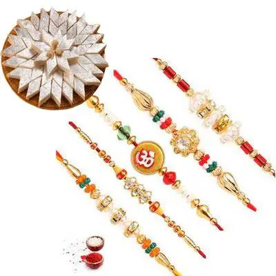 Set of 5 Mix Rakhi with Burfi