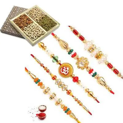 Set of 5 Mix Rakhi with Dry Fruits