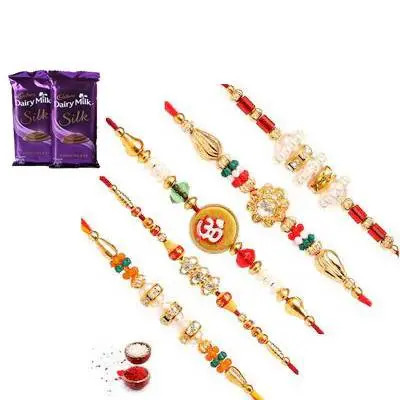 Set of 5 Mix Rakhi with Silk