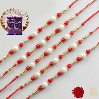 Set of 5 Pearl Rakhi with Burfi with Silk