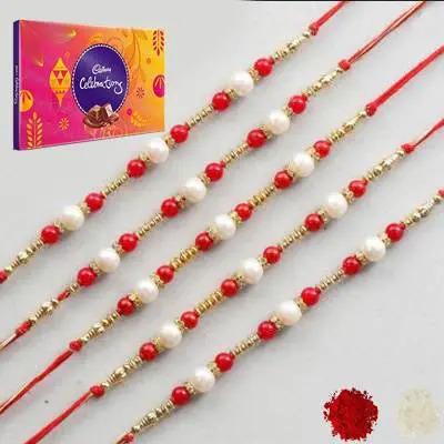 Set of 5 Pearl Rakhi with Celebration