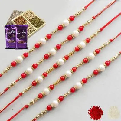 Set of 5 Pearl Rakhi with Dry Fruits & Silk
