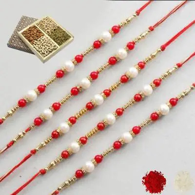 Set of 5 Pearl Rakhi with Dry Fruits