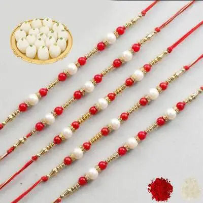 Set of 5 Pearl Rakhi with Rasgulla