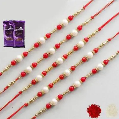 Set of 5 Pearl Rakhi with Silk