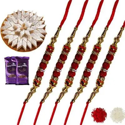 Set of 5 rudraksha Rakhi with Burfi & Silk