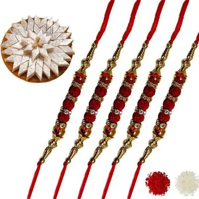 Set of 5 Rudraksha Rakhi with Burfi