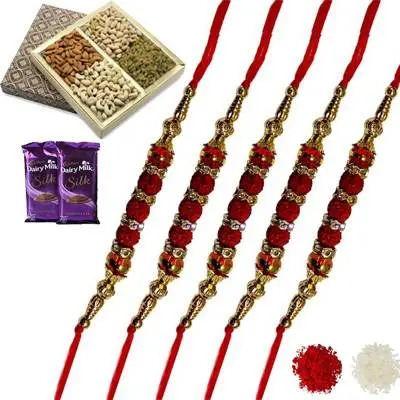 Set of 5 Rudraksha Rakhi with Dry Fruits & Silk
