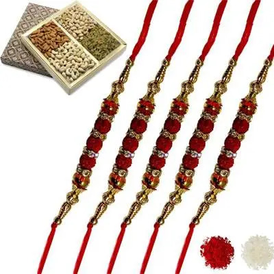 Set of 5 rudraksha Rakhi with Dry Fruits