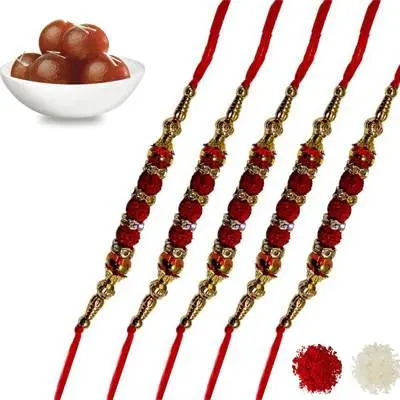 Set of 5 rudraksha Rakhi with Gulab Jamun