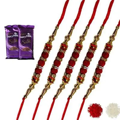 Set of 5 rudraksha Rakhi with Silk