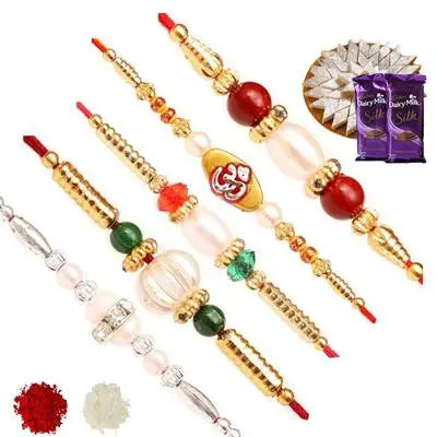 Set of 5 Stone Rakhi with Burfi & Silk