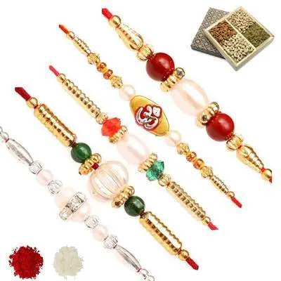 Set of 5 Stone Rakhi with Dry Fruits