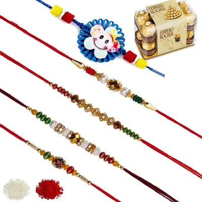 Set of 5 Elder & Kids Rakhi with Ferrero