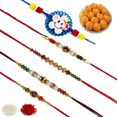Set of 5 Elder & Kids Rakhi with Laddu