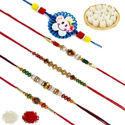 Set of 5 Elder & Kids Rakhi with Rasgulla