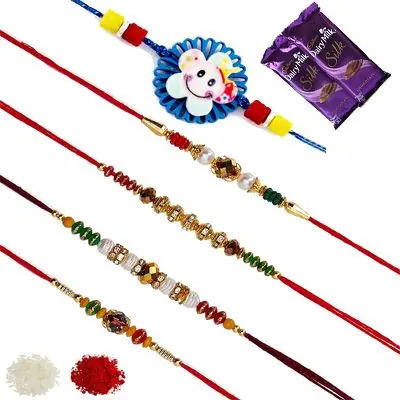 Set of 5 Elder & Kids Rakhi with Silk