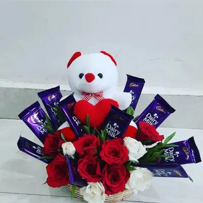 Basket with Teddy and Chocolates