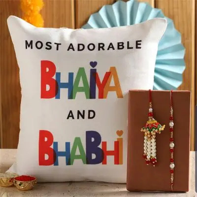 Personalized Cushion with Rakhi