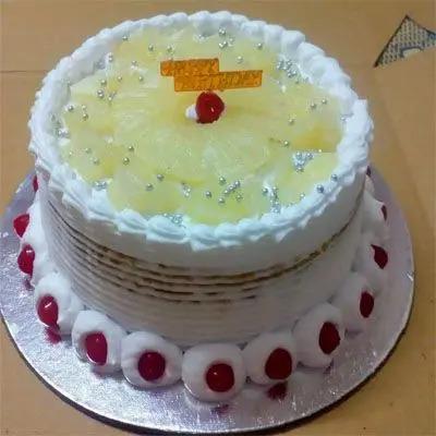 Eggless Pineapple  Birthday Cake