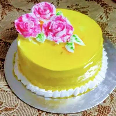 Eggless Pineapple Flower Cake