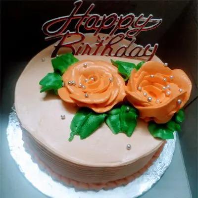 Eggless Vanilla Flower Cake