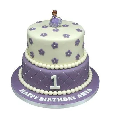 2 Tier First Birthday Cake